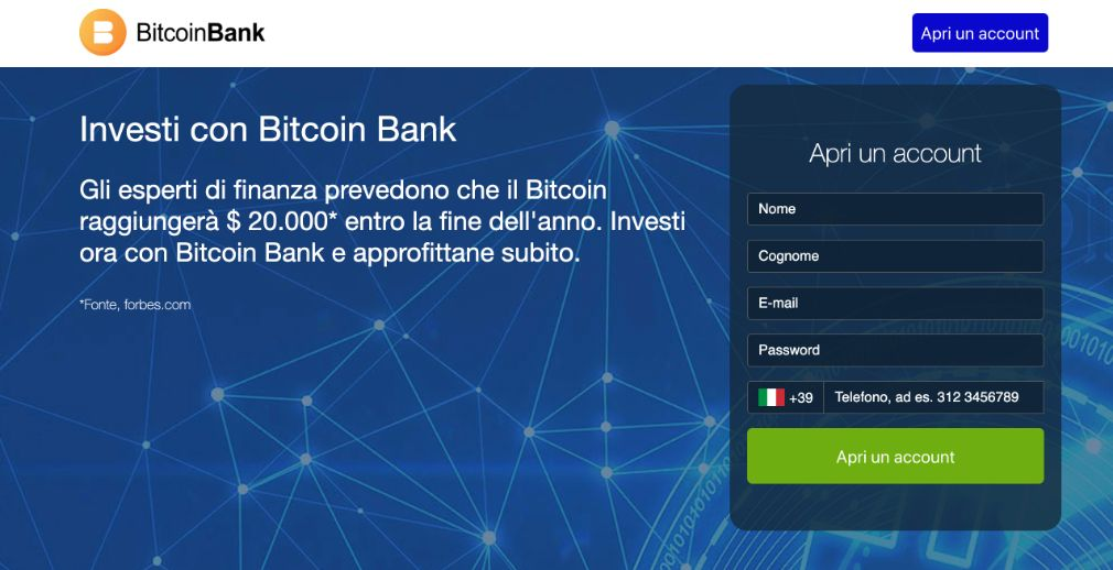 Crypto Bank Truffa