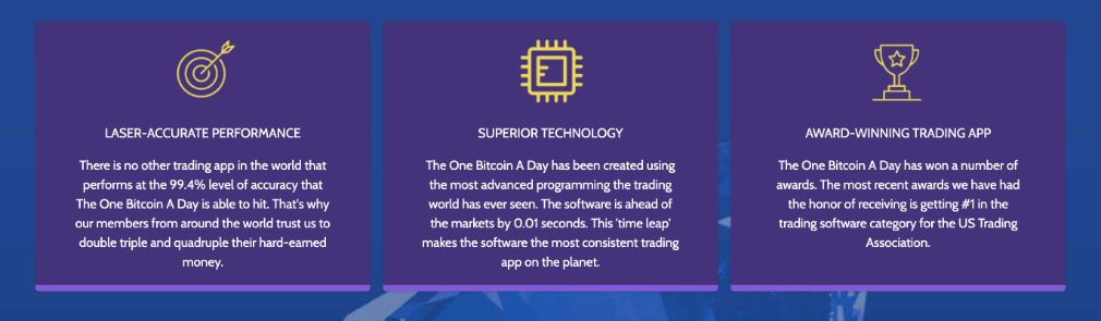 One Bitcoin a Day features